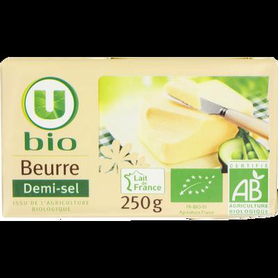 Beurre demi sel bio U BIO, 80%MG, plaquette de 250g