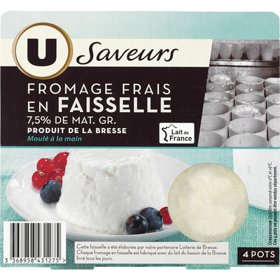Fromage frais faisselle au lait/crème pasteurisé 7,5%mg U SAVEURS4x100g