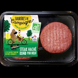 Steack haché, 15% MAT.GR.,bio, spécial burger, SOURIRES DES CAMPAGNES,France, barquette, 2x120g