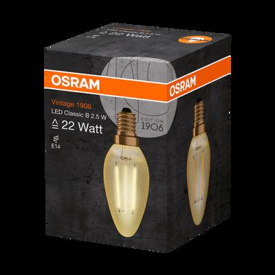 Ampoule led OSRAM, flamme, 22W E14, verre filament clair or, lumière chaude