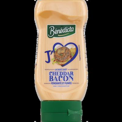 Sauce cheddar bacon BENEDICTA, flacon souple de 245g