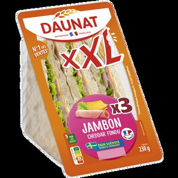 Daunat Sandwich Triangle Xxl Suédois, Jambon Cheddar Et Salade Daunat, 230g