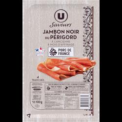 Jambon sec superieur noir du Perigord U SAVEURS, 4 tranches, 100g