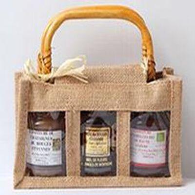 Sac de jute 3 pots ( 2 confitures, 1 miel), Bouges, 3x210g