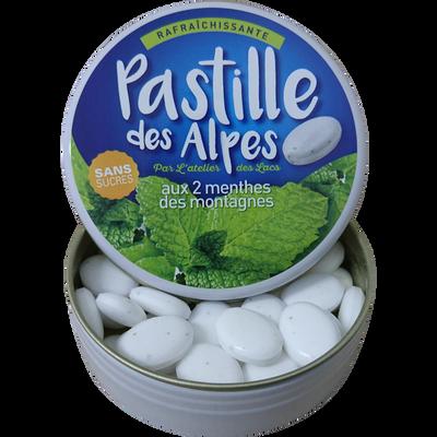 PASTILLES DES ALPES à la menthe sans sucre avec édulcorants, boite métallique de 35g
