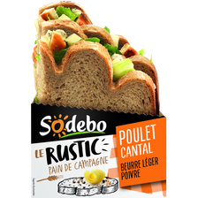 Sandwich le rustic poulet rôti cantal beurre léger poivre SODEBO, 190g