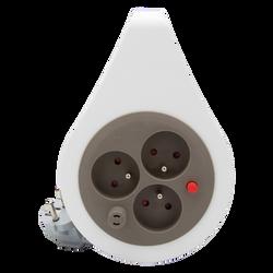 Mini enrouleur ultra compact 3 prises 16a 7m taupe -cablé en hovv-f 3g1mm²