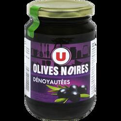 Olives noires confites dénoyautées U, bocal de 160g, 37cl