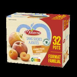 Coupelles ssa pomme x16 + pomme pêche abricot x16 MATERNE 32x100g