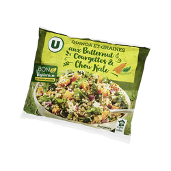Quinoa et graines aux butternut, courgettes et chou kale surgelé U BON& VEGETARIEN, 600g