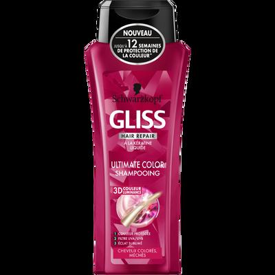 Shampoing ultimate color pour cheveux colorés GLISS, flacon de 250ml