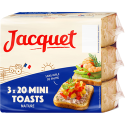 Assortiment Mini-toasts nature JACQUET, paquet de 255g