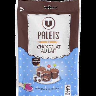 Palets chocolat lait U, paquet de 200g