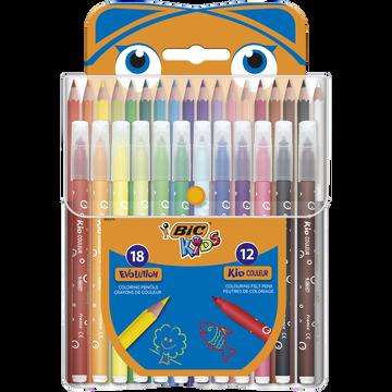 Bic Crayon Bic Kids Evolution X18+feutre Bic Kids Couleur X12