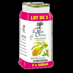 Crème de douche à la verveine et au citron LE PETIT OLIVIER, 2 flaconsde 500ml