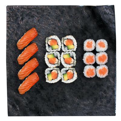 4 SUSHI SAUMON,6 CALIFORNIA SAUMON,6 MAKI SAUMON 350G