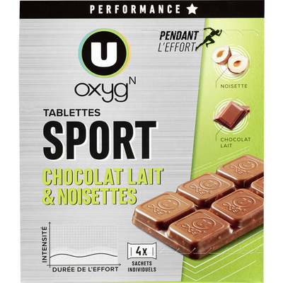 Tablettes chocolat noisette U OXYGEN, 160g