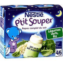 Soupe infantile lait, légumes verts et riz NESTLE, dès 4 mois, 2x250ml