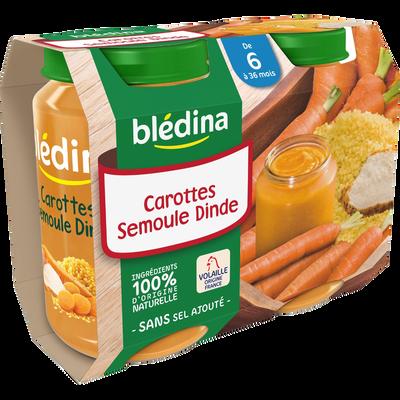 Petits pots pour bébé carottes semoule et dinde dès 6 mois BLEDINA, 2x200g