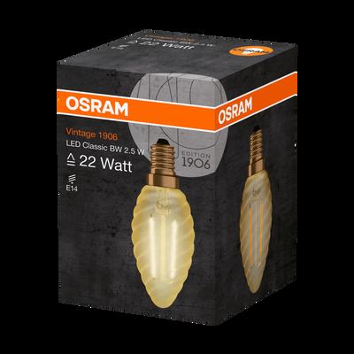 Ampoule led OSRAM, flamme torsadée, 22W E14, filament clair or lumièrechaude