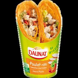 Sandwich be wrappy poulet rôti, tomates marinées et sauce pesto DAUNAT, 190g