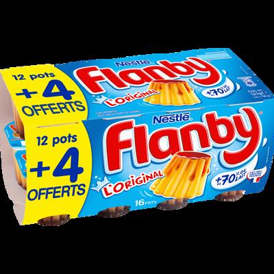 Flan goût vanille nappé de caramel FLANBY 12x100g +4 offerts