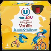 Lou Crème Dessert Saveur Vanille U Mat Et Lou, 4 Gourdes De 85g
