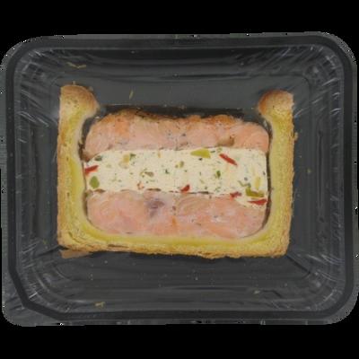 Pâté croûte saumon farci et sa mousseline de poisson aux légumes BOLARD, 1 tranche, 100g