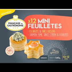 Mini feuilletés escargots et saumon fumé FRANÇAISE DE GASTRONOMIE, x12soit 140g