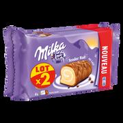 Milka Biscuit Roulé Fourré Crème Lait Enrobé Chocolat Milka, 2 X 148g