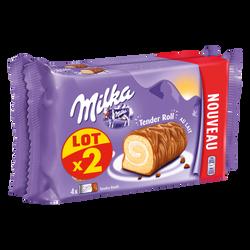Biscuit roulé fourré crème lait enrobé chocolat MILKA, 2 x 148G