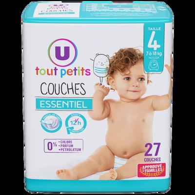 Couche essentiel U TOUT PETITS taille 4 7/18 kg x27