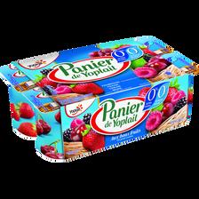 Spécialité laitière 0%mg 0% sucres fruits rouges double 0% PANIER DE YOPLAIT, 8x125g