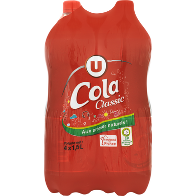 Boisson gazifiée saveur cola avec sucre et édulcorant 4x1,5L