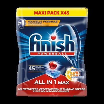 Finish Powerball Tout En 1 Bicarbonate De Soude Finish, 45 Tablettes