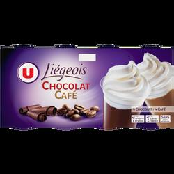 Dessert liégeois chocolat et café et crème fouettée U, 8x100g
