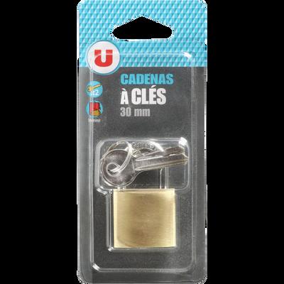 Cadenas U en laiton avec 3 clés, 30mm, sous blister