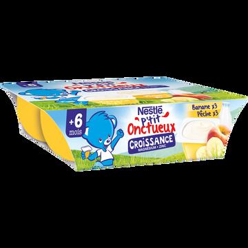 Nestlé P'tit Onctueux Croissance Banane Pêche Dès 6 Mois Nestle, 6x60g