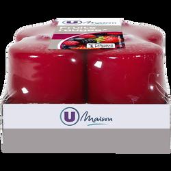Bougies U MAISON, parfumées fruits rouges, 38x50mm, rouges, 4 unités
