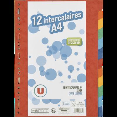 Intercalaires U, 21x29,7 cm, 12 positions