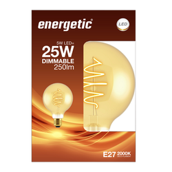 Led déco globe 25w e27 doré ENERGETIC-ampoule déco spirale