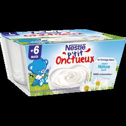 Dessert infantile au fromage blanc nature P'tit Onctueux NESTLE, dès 6mois, 4x100g