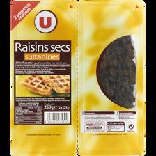 Raisin sec Sultanine, U, calibre 235/265, barquette sécable 2x125g