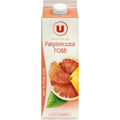 Pur jus réfrigéré pamplemousse rose U, brique de 1 litre