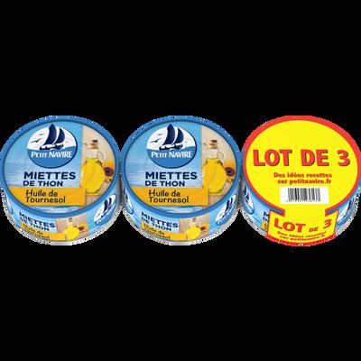Miettes de thon huile tournesol PETIT NAVIRE, 2 boîtes de 130g