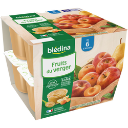 Coupelle 100% fruits du verger BLEDINA, de 6 à 36 mois, 8x100g