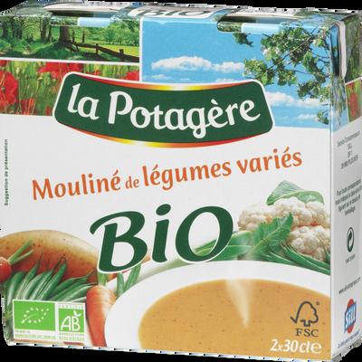 Potage bio mouliné de légumes variés LA POTAGERE, 2x30cl