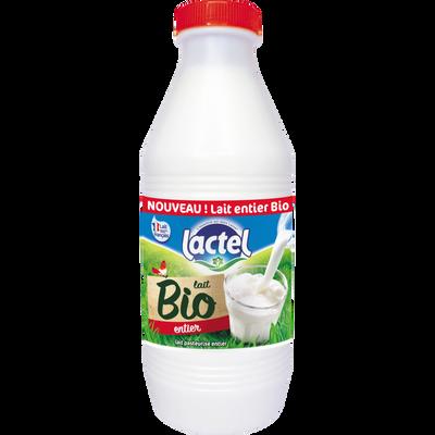 Lait pasteurisé entier LACTEL bio, bouteille de 1l