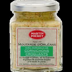 Moutarde Orléans morceaux de cornichons aux graines Val Loire, POURET,200g