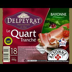 Quart de jambon de Bayonne IGP DELPEYRAT, 18 tranches, 190g